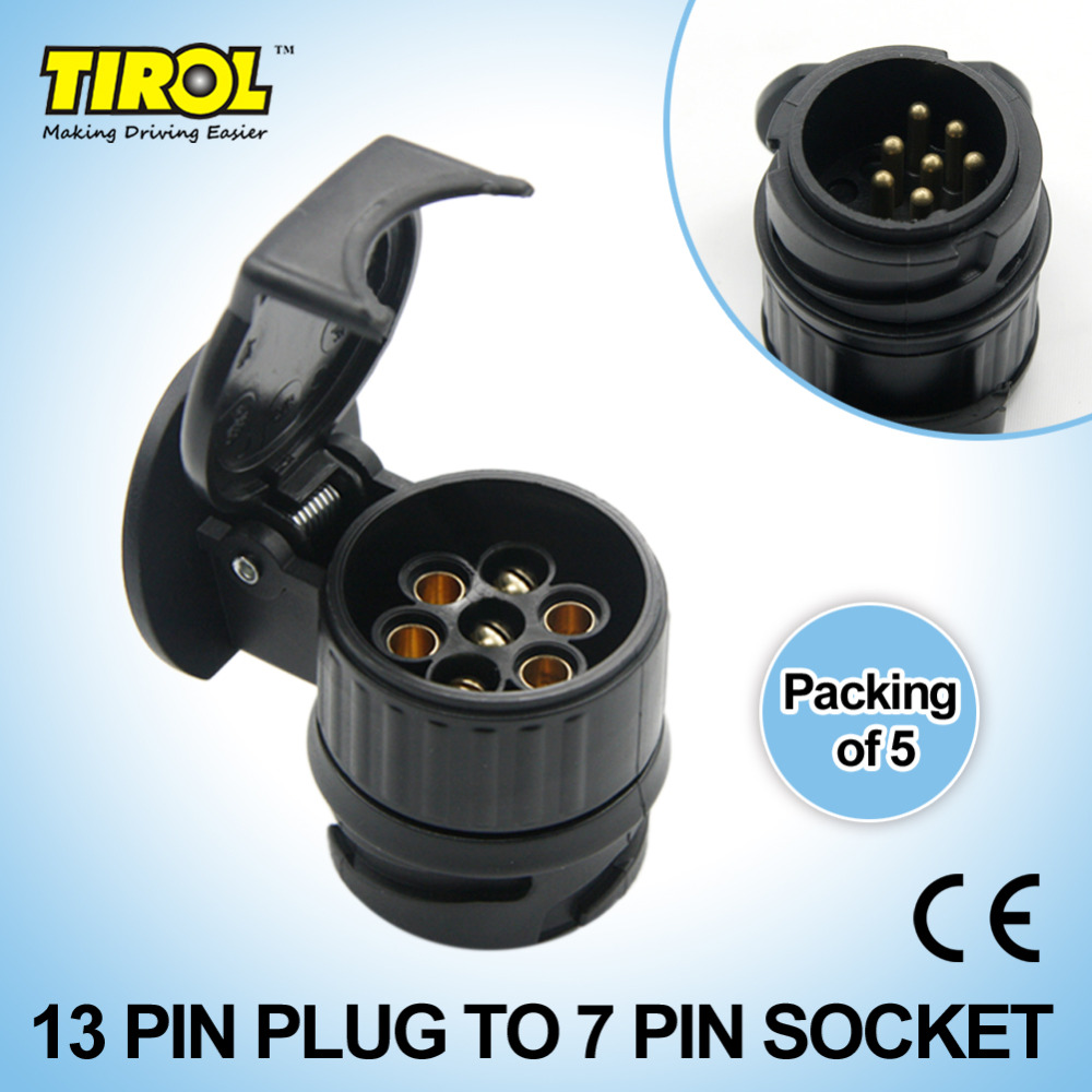 Best Buy Tirol 13 To 7 Pin Trailer Adapter Black Plastic Tow Plug Wiring Connector 12v Towbar Towing