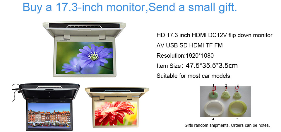 HD 17.3 дюйм(ов) 12 В светодиодный цифровой Экран крыше автомобиля средствах флип Пух накладные Мониторы <font><b>1920</b></font>*<font><b>1080</b></font> AV USB SD HDMI TF FM 1738-1