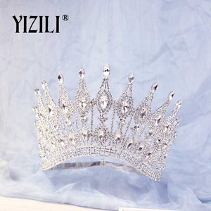 Image 3 - YIZILI חדש יוקרה גדול הכלה חתונה כתר ריינסטון מדהים קריסטל גדול עגול מלכת כתר חתונה שיער אביזרי C070