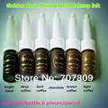 Free shipping 6pc Cosmetic Golden rose tattoo ink & Permanent Makeup Micro Pigment Color