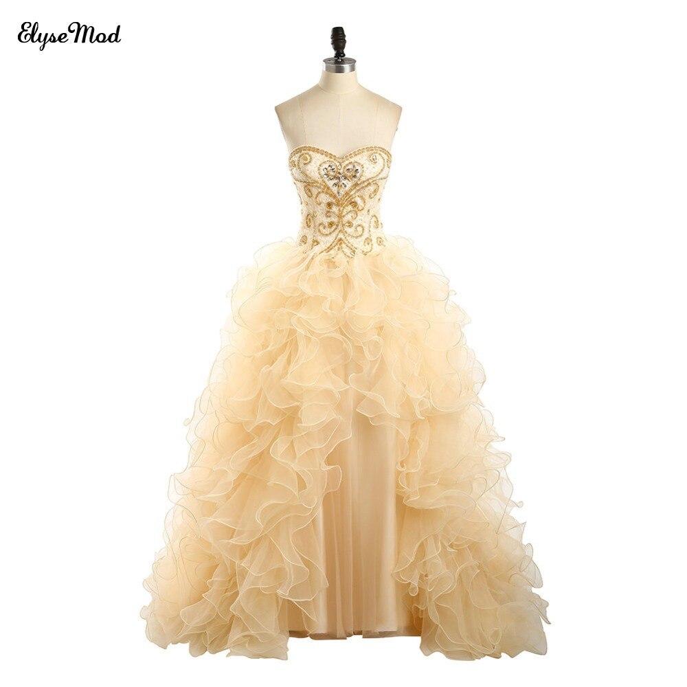 Offre spéciale robe de bal Champagne dentelle chérie robes de grande taille de bal pour 2018 femmes bal à volants robe perlée livraison gratuite