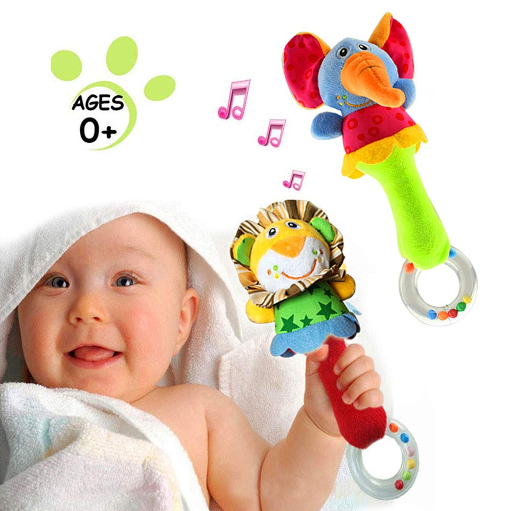 Baby Soft Rattles Shaker Toys Infant Developmental Hand Grip Cute Stuffed Animal Toys with Sound for 3 6 9 12 Months and Newborn