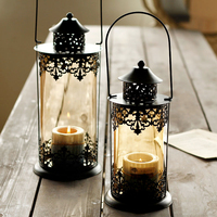 pattern decorative candles iron holder decoration Home Furnishing new style wedding candlesticks of modern European black