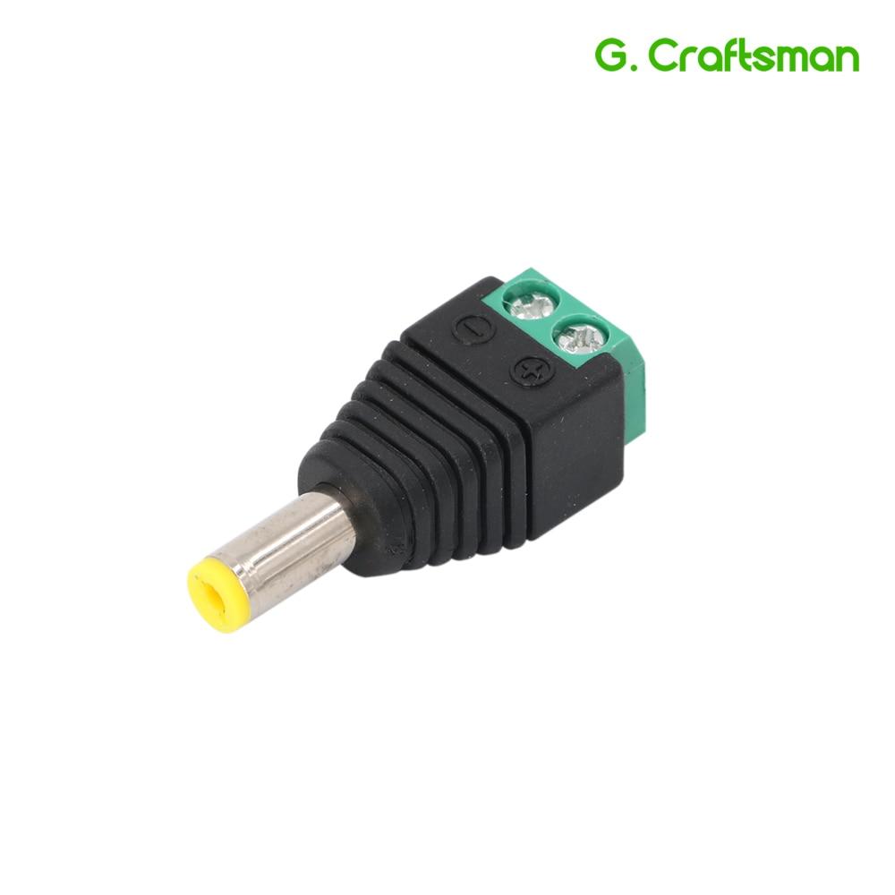 DC Jack Power Male Plug Adapter 5.5*2.1 DC Jack Crimp Type Connector CCTV Camera Socket Accessories Security B12 G.Craftsman