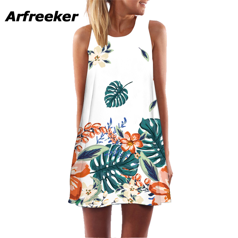 Arfreeker Summer Dress Plus Size Short Beach Dresses For Girls Printing O-Neck Sleeveless Casual WomenS Cloth Gown 2018 New