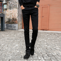 Mens Slim Fit Jeans Casual Straight Elastic Cotton Pants Mid Waist Skinny Pencil Jeans Black For
