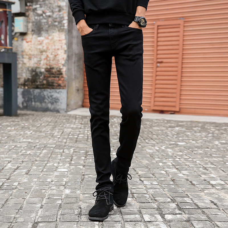 Male Fashion Designer Brand Elastic Straight Jeans 2016 New Men Mid Pants Slim Skinny Men Jeans Stretch Black Denim Jeans men s cowboy jeans fashion blue jeans pant men plus sizes regular slim fit denim jean pants male high quality brand jeans