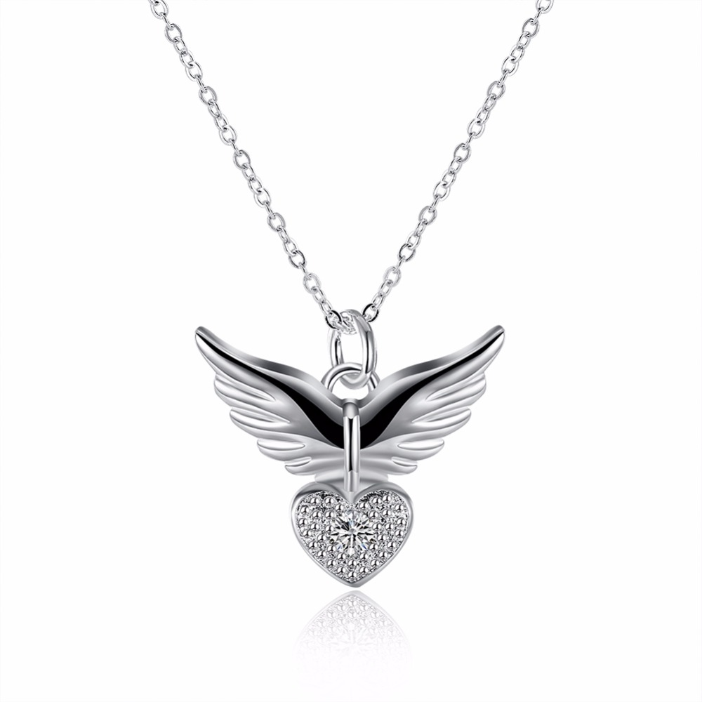 Hot new models 925 sterling silver jewelry angel wings zirconium Miss Shi heart-shaped pendant necklace arts