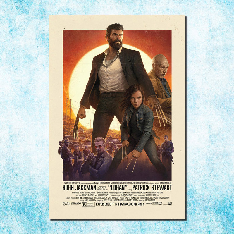 """""""Wolverine 3 Logan"""" filmo menas """"Šilko drobės"""" plakatas - Namų dekoras"""