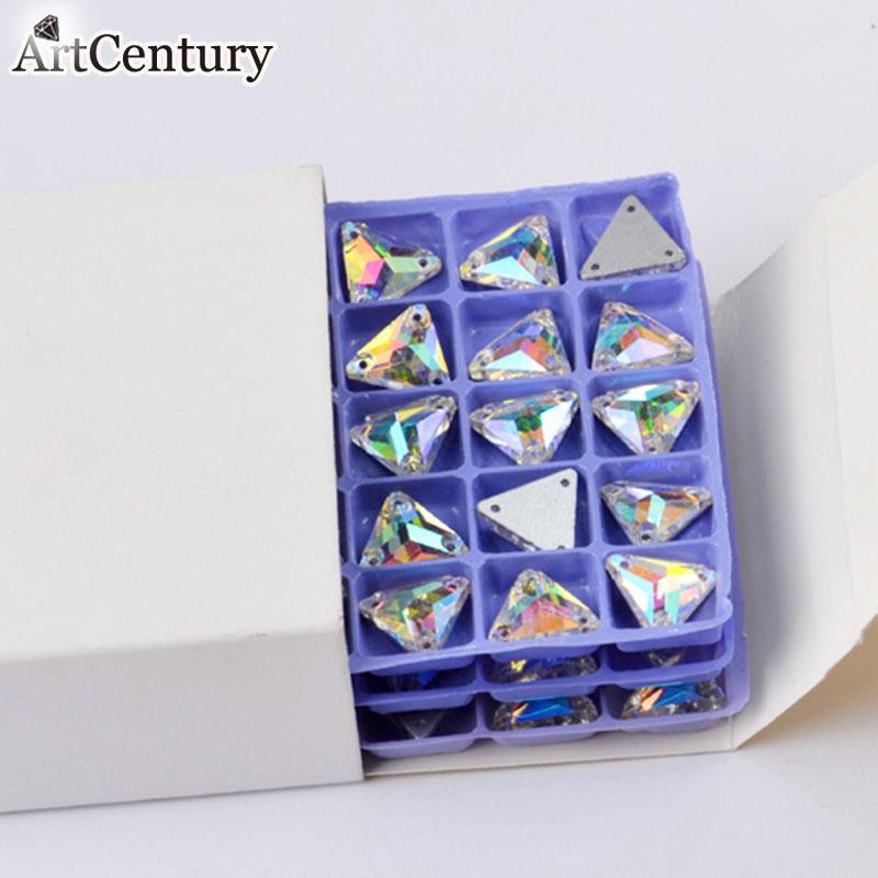 っCrystal Clear AB color Tri ángulo forma coser en rhinestones para ...