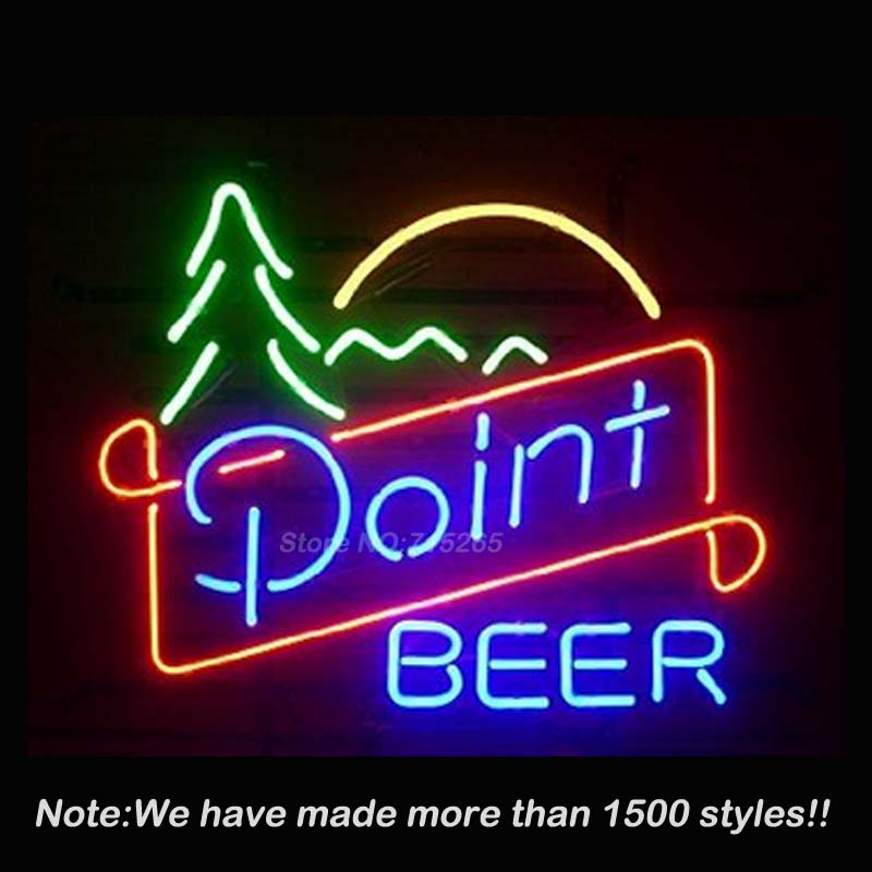 Point Beer Real Glass Neon Sign Neon Bulbs Store Display Real Glass Tube Handcrafted Art Design Advertising GiftS 17x14 VD