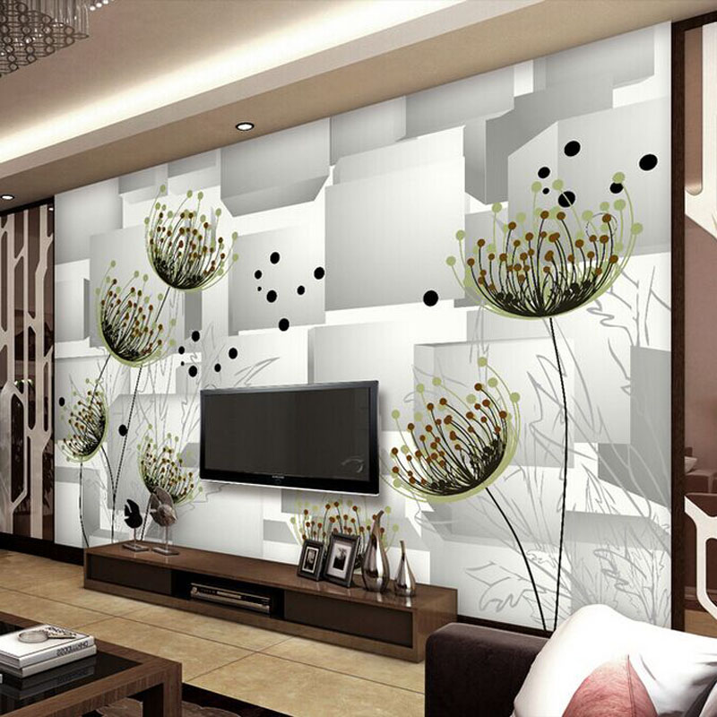 Abstract drawing large mural floral drawing room 3D stereo TV ...