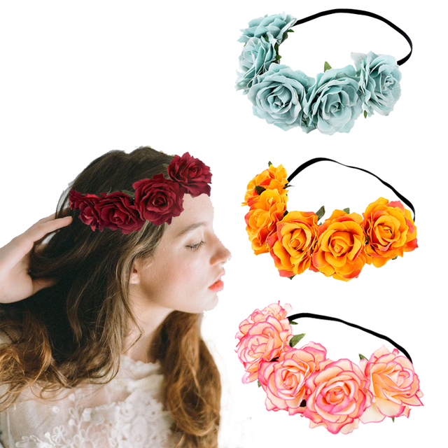 Bohemia Woman Rose Flower Wedding Headband Fashion Hair Accessories Beach  Garland Elastic Girls Floral Crown Wreath 0f95f3a0d97b