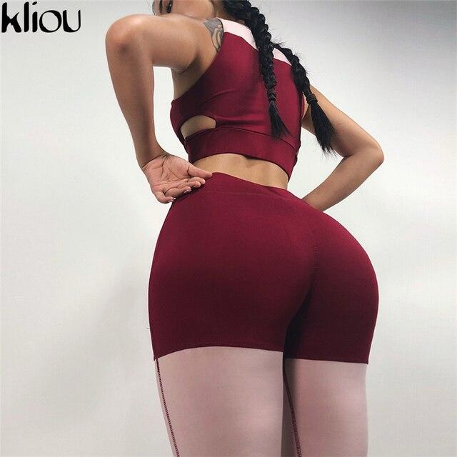 Patchwork Sporting Tops Fitness Elastic Slim Pants Leggings Tracksuit 2 Pieces Set 3