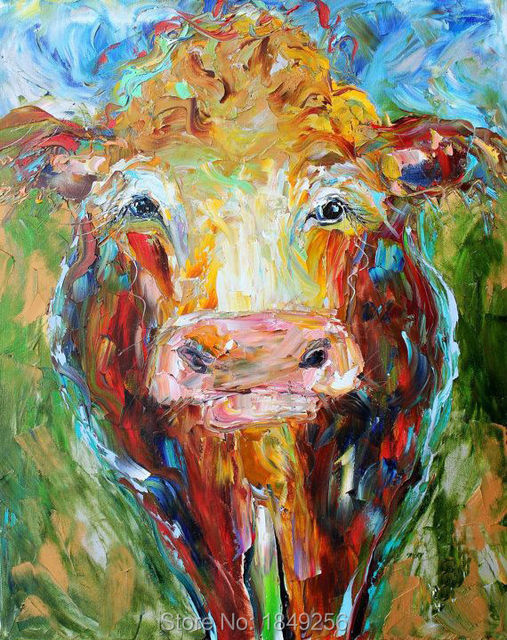 2017 New Painting Knife Hard Cattle Oil On Canvas For Wall Decoracion Animal Cow Paintings Art