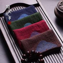 Плотное хлопковое и льняное чайное полотенце китайский стиль дзен чай Ретро кунг-фу чайный горшок чистящее полотенце настольные Чайные Аксессуары для церемоний