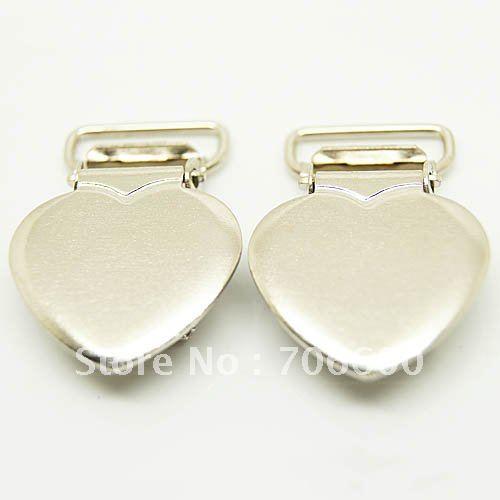500pcs per lot 16mm metal heart suspender clips pacifier lips in pacifier wholesale suspender clips