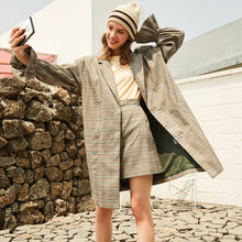 Metersbonwe brand flared sleeve women coat plaid 2019 new style(China)