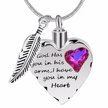 God has you in his arms cremation necklace for mom,dad,pet memorial ashes urn fashion necklace jewelry keepsake pendant