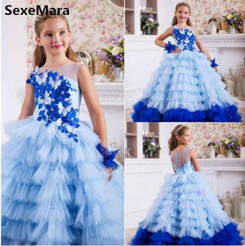 Royal Blue Tiered Tulle   Girls     Dresses   2019 Summer Kids   Dress     Girls   Costumes Cute   Girls   Pageant Birthday Party   Dress   Kids 2-14Y