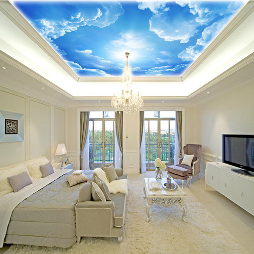 3d modern minimalist ceiling wallpaper large blue white for B q living room wallpaper
