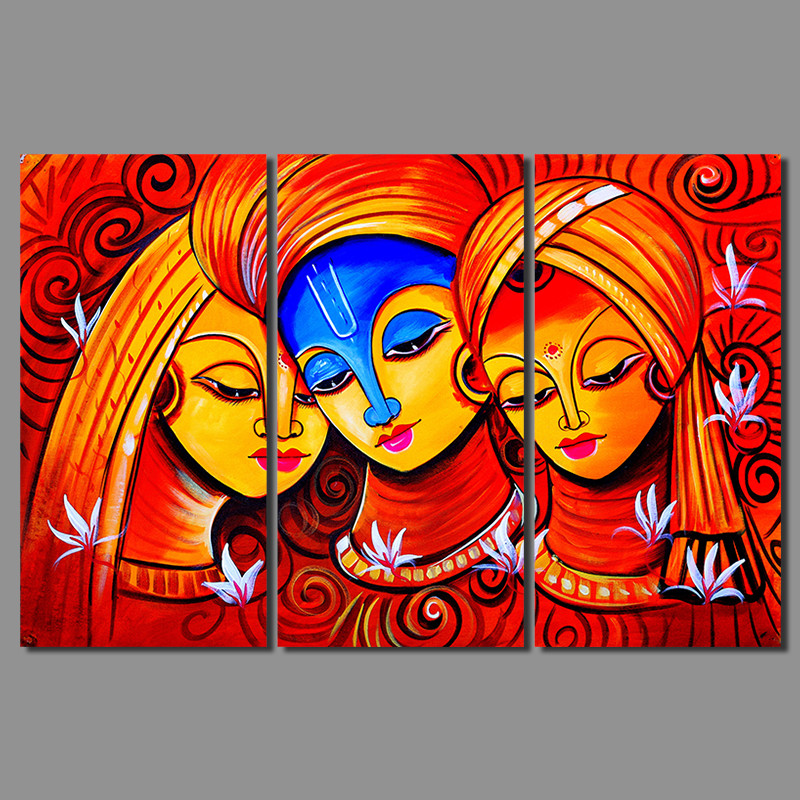 Retro Hot Red 3pcs Figure Living Room Decoration India Woman Amorous Canvas Print Painting Wall Art Pictures Home Decor Unframed In Calligraphy