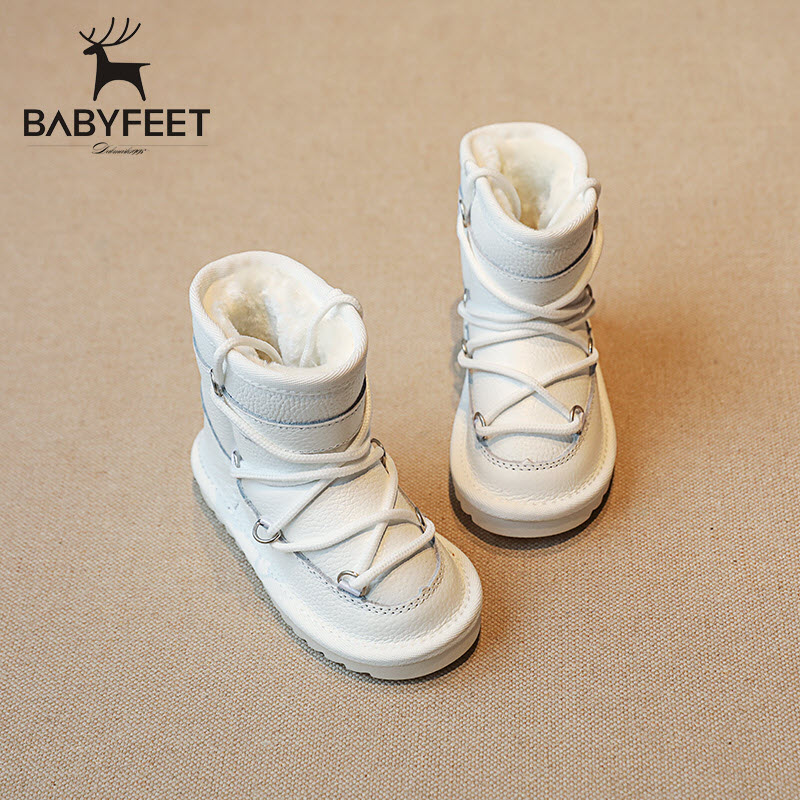 babyfeet 2017 Winter fashion Warm Plush high top Genuine Cow Leather children ankle girls snow boots kids boys shoes sneakers рубашка j hart