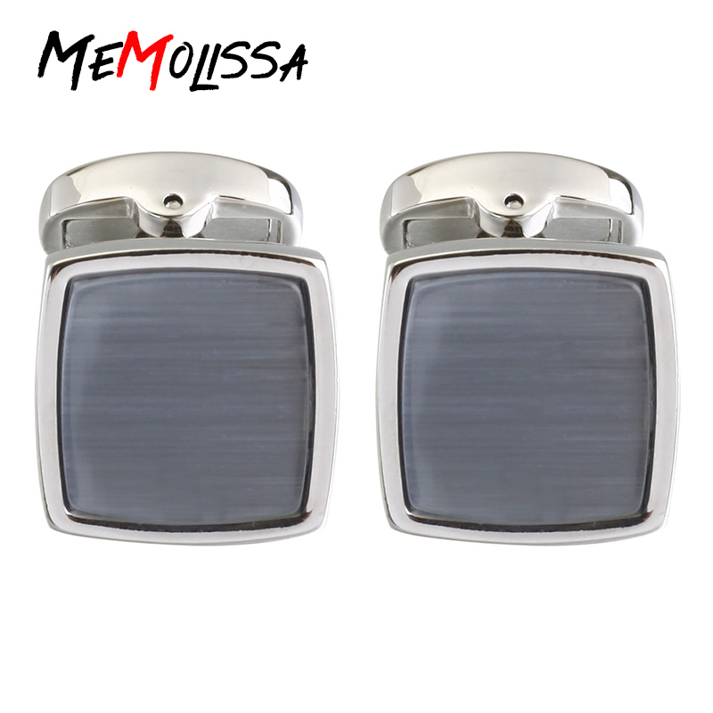 Sensible Memolissa Luxury Shirt Cufflinks For Mens Brand Cuff Button Gray Color Opals Square Cuff Links High Quality Abotoaduras Jewelry Jewelry Sets & More
