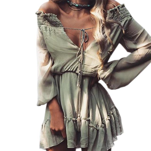 Boho Chiffon Dresses Slash Neck Beach Summer Beach Mini Dress Lantern Long Sleeve Ruffle Women Sexy Party Vintage Dress GV687