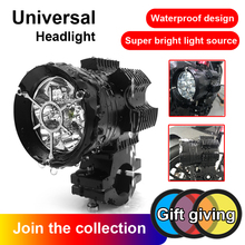 Aluminium Alloy Motorcycle Headlight Auxiliary Lamp LED Motorcycle Phare Moto Switch HeadLamp Daylight Spot Light 12V Moto DRL