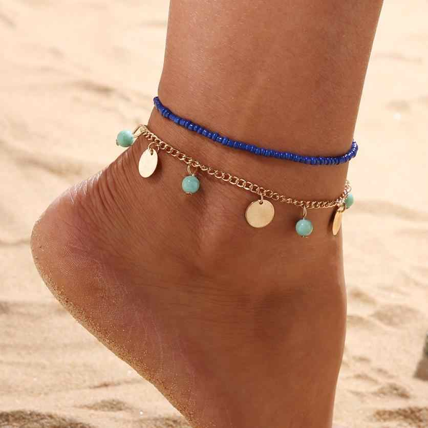 Double Chain Anklet Bracelets Jewelry Beach Section Anklets Beads Boho Foot Gothic Bohemian Flawless Simulated Jewelry Bracelet
