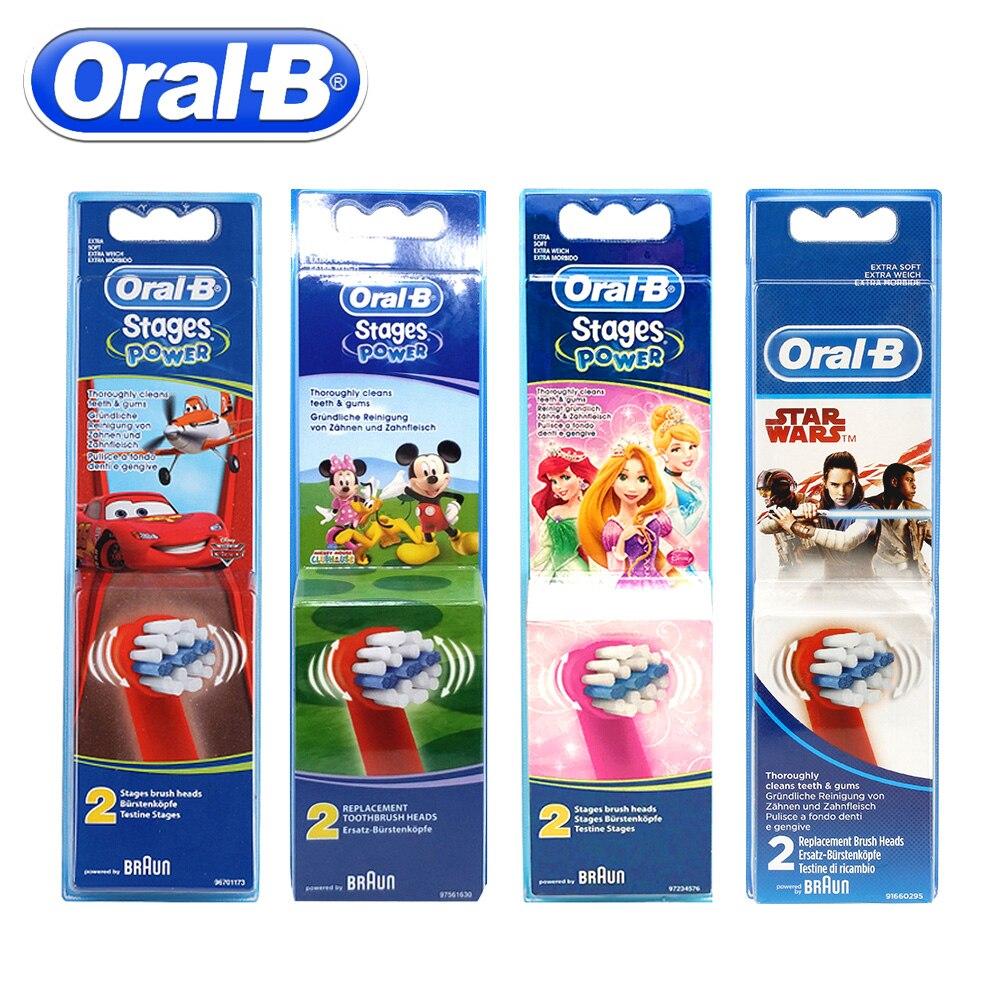 2 unds/pack Oral B cabezas de cepillo de dientes eléctrico para niños EB10 reemplazo de cerdas suaves cabezales de cepillo eléctrico higiene Oral cabeza de cepillo