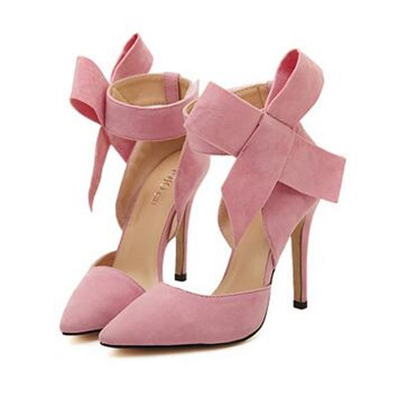 e726a4b0d99d New Butterfly Pointed Stiletto Shoes Woman High Heels Big Bow Tie Pumps  Wedding