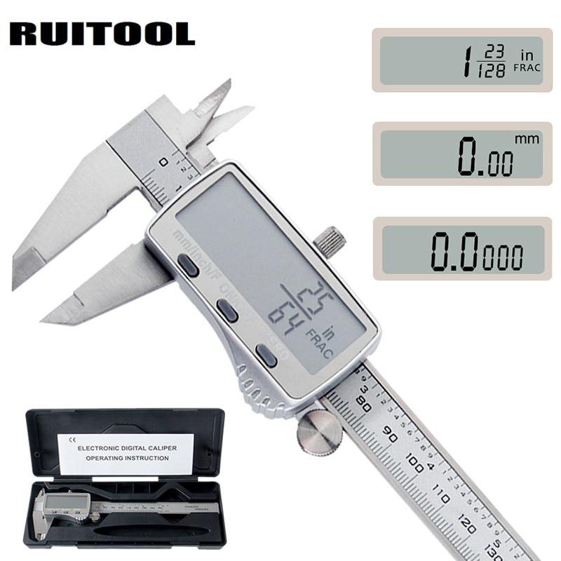 Calibrador Digital RUITOOL 0-150mm métrico/pulgada/fracción calibrador Vernier electrónico Acero inoxidable micrómetro herramientas de medición