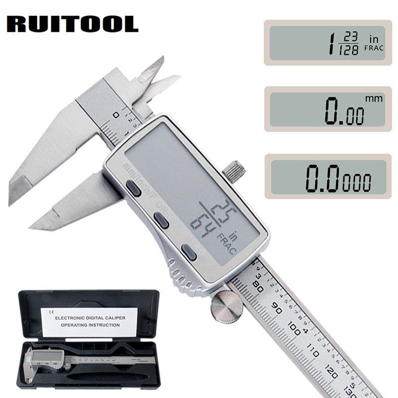 RUITOOL Digital Caliper 0-150mm Metric/Inch/Fraction Electronic Vernier Calipers Stainless Steel Micrometer Measuring tools цены