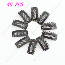 40pcs U Shape Snap Metal Clip For Hair Extension wig weft 32mm Blonde brown(China)
