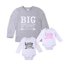 cool Family Matching Boy girls Little Big Brothers sister Romper T-shirt Cotton Clothes long sleeve clothes for baby siblings(China)