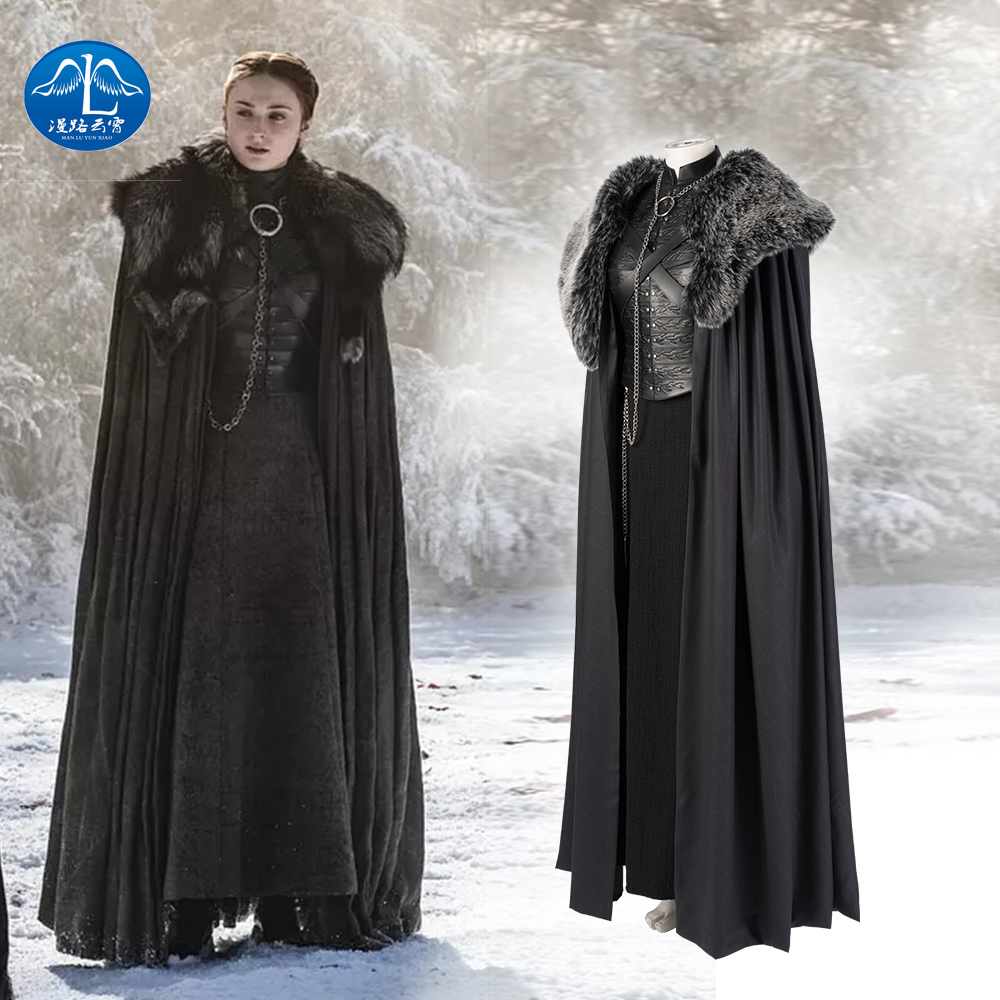 Manluyunxiao Game of Thrones Cosplay Costume Sansa Stark Dress Cloak Outfit Custom Made Halloween Accessories