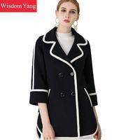 Элегантный черный, белый цвет Для женщин пальто зимние короткие 2018 женский шерсть пальто шерстяные Половина рукава женщина Повседневное да