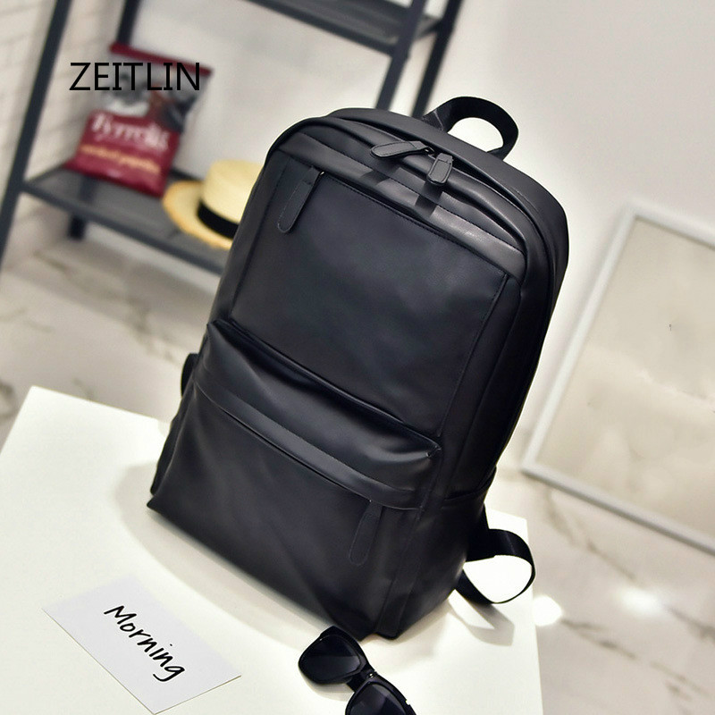 ZEITLIN Leather Backpack for Women Men Laptop Backpack Notebook Computer 15.6 Inch Laptop Bag Male Female Travel Bags M0226 cool men travel backpack men elephant animal bags 15 6 inch laptop computer bag fashion black gold silver rivet leather bags