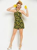 Sisjuly Women S Dress 2017 Summer Sexy Club Strapless Above Knee Length Yellow Mango Print Sleeveless
