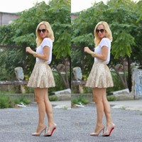 Dazzling Sequins Lace Short Gold Skirts For Women A line Mini Skirt Fashion Custom Made High End Clothing Female Skirt Autumn