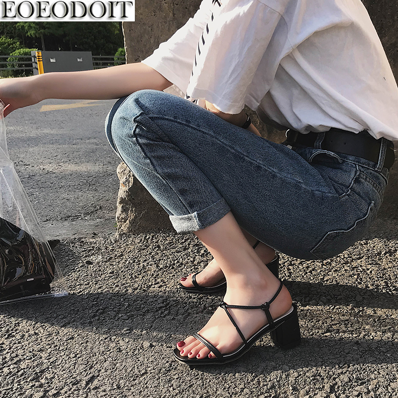 EOEODOIT Women Sandals High Heel Leather Summer Pumps Shoes Belted Sexy Lady Chunky Heel Shoes Girls Sandals ...