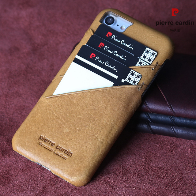 Pierre Cardin For iPhone 8 7 Case Vintage Genuine Leather Card Slots Hard Back Cover For iPhone 8 Plus/ 7 Plus Phone Cases Funda