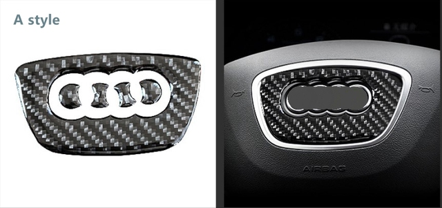 Car Carbon Fiber Steering Wheel Logo Sticker Frame Cover For Audi A1 A3 A4 A5 A6 A7 Q3 A6 C7 Q5 A8 Q7 B6 B7 Car-Styling