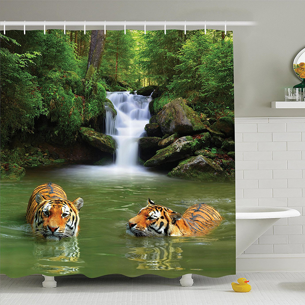 Safari Decor Shower Curtain Set, Siberian Tigers In Water Waterfall Pool Woodland Swimming Asian Natural , Bathroom Accessories