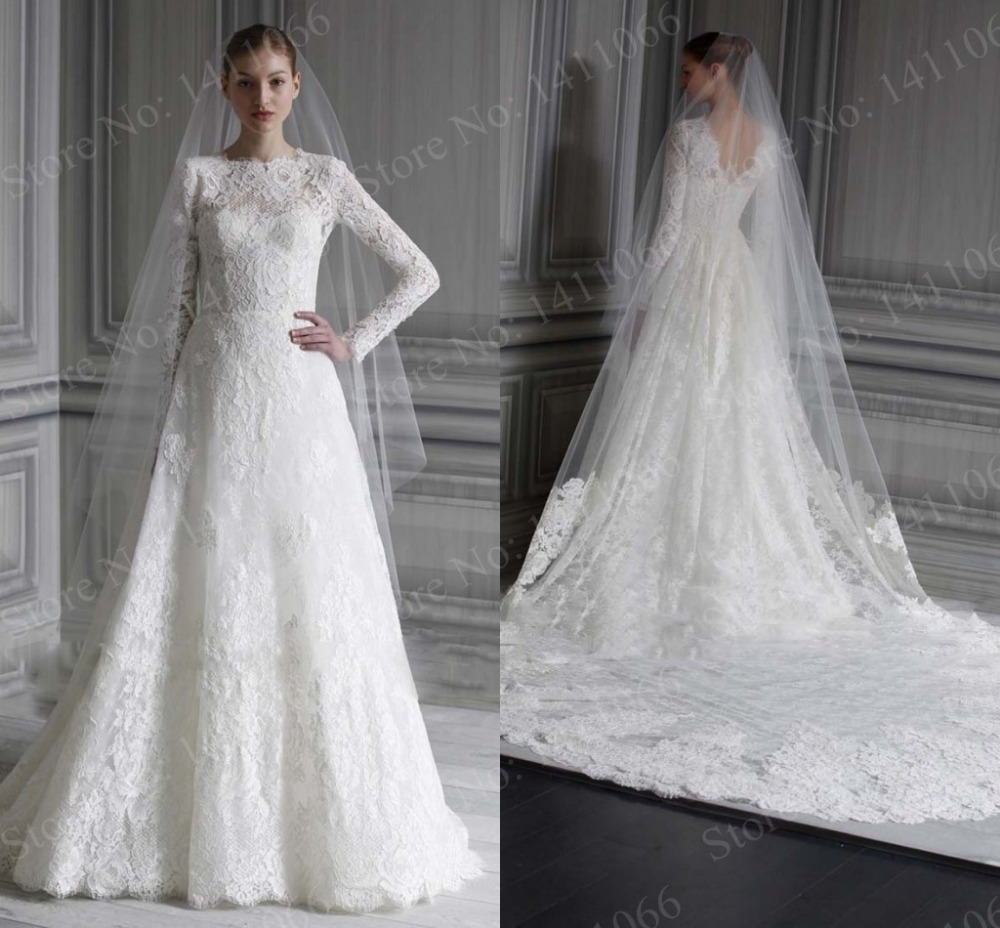 Buying Wedding Gowns  Reviews : Long sleeve lace wedding dresses white vintage dress g
