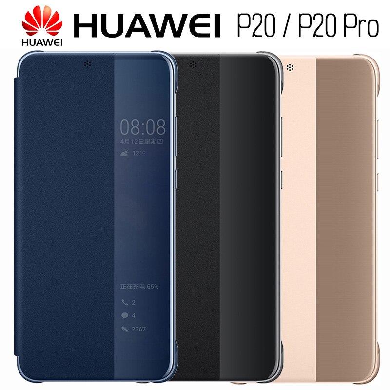 HUAWEI P20 Pro Cas D'origine Officiel Smart View HUAWEI P20 cas Placage Miroir Fenêtre Flip En Cuir Téléphone Case Couverture fondamentale coque