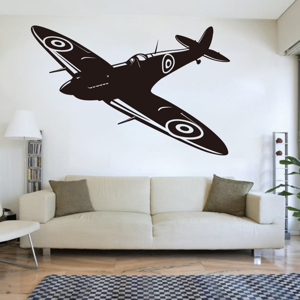Spitfire Jet Wall Decal Kids Room British Fighter WW2 Aircraft Plane Airplane Biplane Wall Sticker Military Vinyl Bedroom Decor image