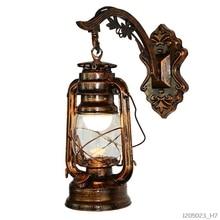 Vintage Đèn LED Dán Tường Chuồng Lồng Đèn Retro Dầu Hỏa Dán Tường Châu Âu Phong Cách Cổ Xưa